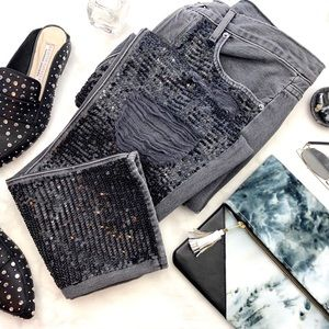 Frame Sequin Front Destroyed Straight Ankle Jeans
